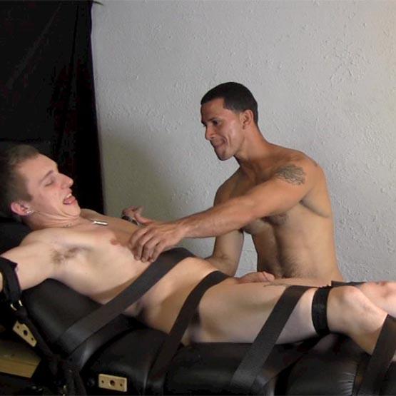 Tied up pissed himself man erection intruder gay
